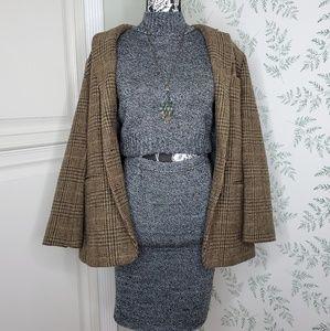 Vtg G.A.S. Dark Gray Sweater Skirt Set
